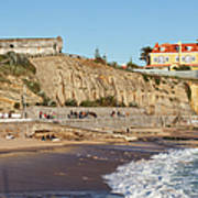 Praia Da Poca Beach In Estoril Portugal Art Print