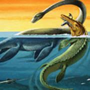 Prehistoric Creatures In The Ocean Art Print