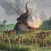 Prehistoric Mammoth Hunt Art Print
