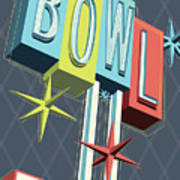 Premiere Lanes Bowling Pop Art Art Print