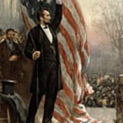 President Abraham Lincoln - American Flag Art Print