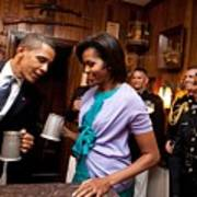 President And Michelle Obama Attend Art Print