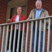 President And Mrs Carter On Plains Inn Balcony Art Print