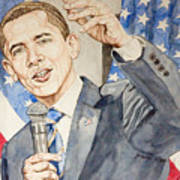President Barack Obama Speaking Art Print by Andrew Bowers