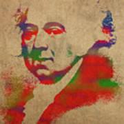 President John Adams Watercolor Portrait Art Print