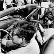 President Kennedy Drives An Open Car Art Print