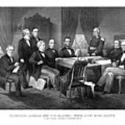 President Lincoln His Cabinet And General Scott Art Print