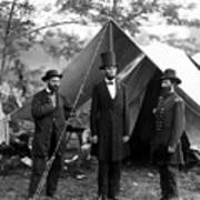President Lincoln Meets With Generals After Victory At Antietam Art Print