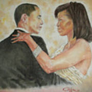 President Obama And First Lady Art Print by G Cuffia