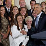 President Obama Honors Us Womens Soccer Team At White House #1 Art Print