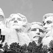 Presidents Of Mount Rushmore Framed By South Dakota Forest Trees Panoramic Black And White Art Print