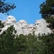 Presidents Of Mount Rushmore Framed By South Dakota Forest Trees Art Print