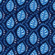 Pretty Decorative Blue Leaves Pattern Art Print