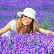 Pretty Woman On Lavender Field Print by Anna Om
