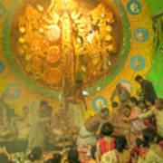 Priest Distributing Flowers For Praying To Goddess Durga Durga Puja Festival Kolkata India Art Print