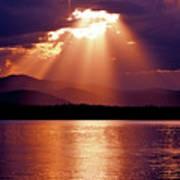 Priest Lake Sunset Heavenly Light Art Print