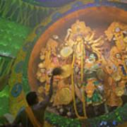 Priest Praying To Goddess Durga Durga Puja Festival Kolkata India Art Print