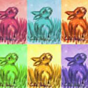 Primary Bunnies Art Print