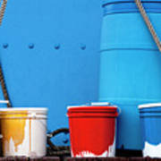Primary Colors - Paint Buckets On A Ship Art Print