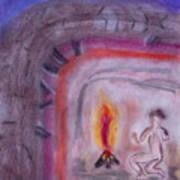 Primitive Man Fireside Art Print