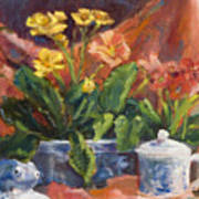 Primroses And Blue China Art Print