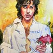 Prince Rogers Nelson Holding A Rose Art Print