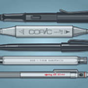 Pro Pens Art Print
