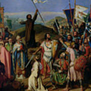 Procession Of Crusaders Around Jerusalem Print by Jean Victor Schnetz