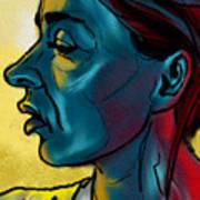 Profile In Blue Art Print