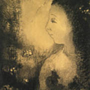 Profile Of A Woman With Flowers Art Print