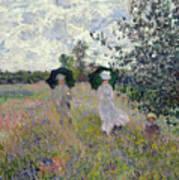 Promenade Near Argenteuil Art Print by Claude Monet