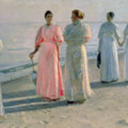Promenade On The Beach Print by Michael Peter Ancher