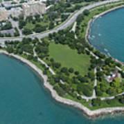 Promontory Point In Burnham Park In Chicago Aerial Photo Art Print
