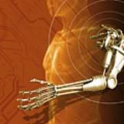 Prosthetic Robotic Arm, Computer Artwork Art Print by Victor Habbick Visions