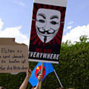 Protesters With An Anonymous Mask Art Print