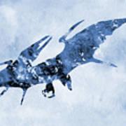 Pterodactyl-blue Art Print