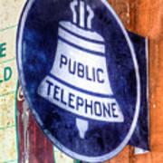Public Telephone Sign Art Print