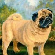 Pug In The Park Art Print