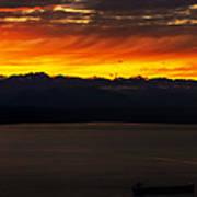 Puget Sound Olympic Mountains Sunset Art Print
