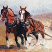 Pulling Contest Clydesdales Draft Horse Paintings Art Print
