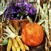 Pumpkin Corn And Asters Art Print