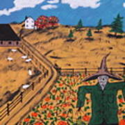 Pumpkin Patch Scarecrow Art Print