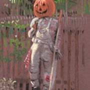 Pumpkin Scarecrow Art Print