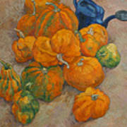 Pumpkins and watering can Art Print