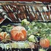 Pumpkins On Roof Art Print