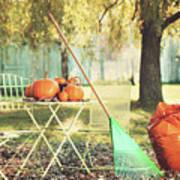 Pumpkins On The Table Art Print