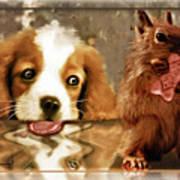 Pup And Squirrel Art Print
