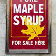 Pure Maple Syrup For Sale Here Sign Art Print