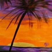 Purple And Orange Sky Art Print by Marie Bulger