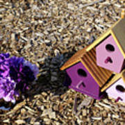 Purple Birdhouses 2 Art Print